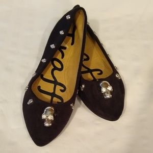 Traffic Black Velvet Skull Shoes Sz. 6